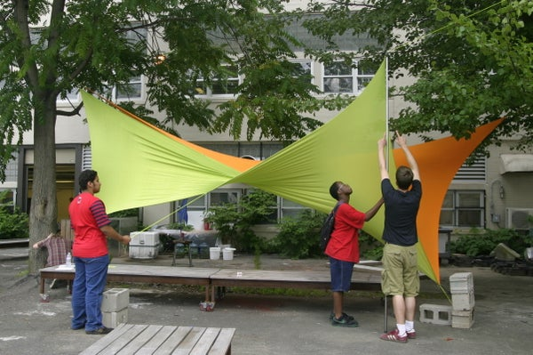 No-Sew Spandex Tensile Shade Structure