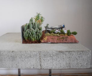 Floating Concrete Table With Planter
