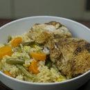 Arroz y pollo en una olla