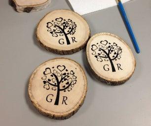 DIY Screen Printing on Wood Coasters for Wedding Gift