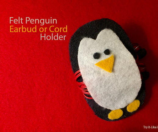Make a Felt Penguin Earbud or Cord Holder