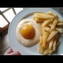 Fake Egg And French Fries: Peach Yogurt And Apple