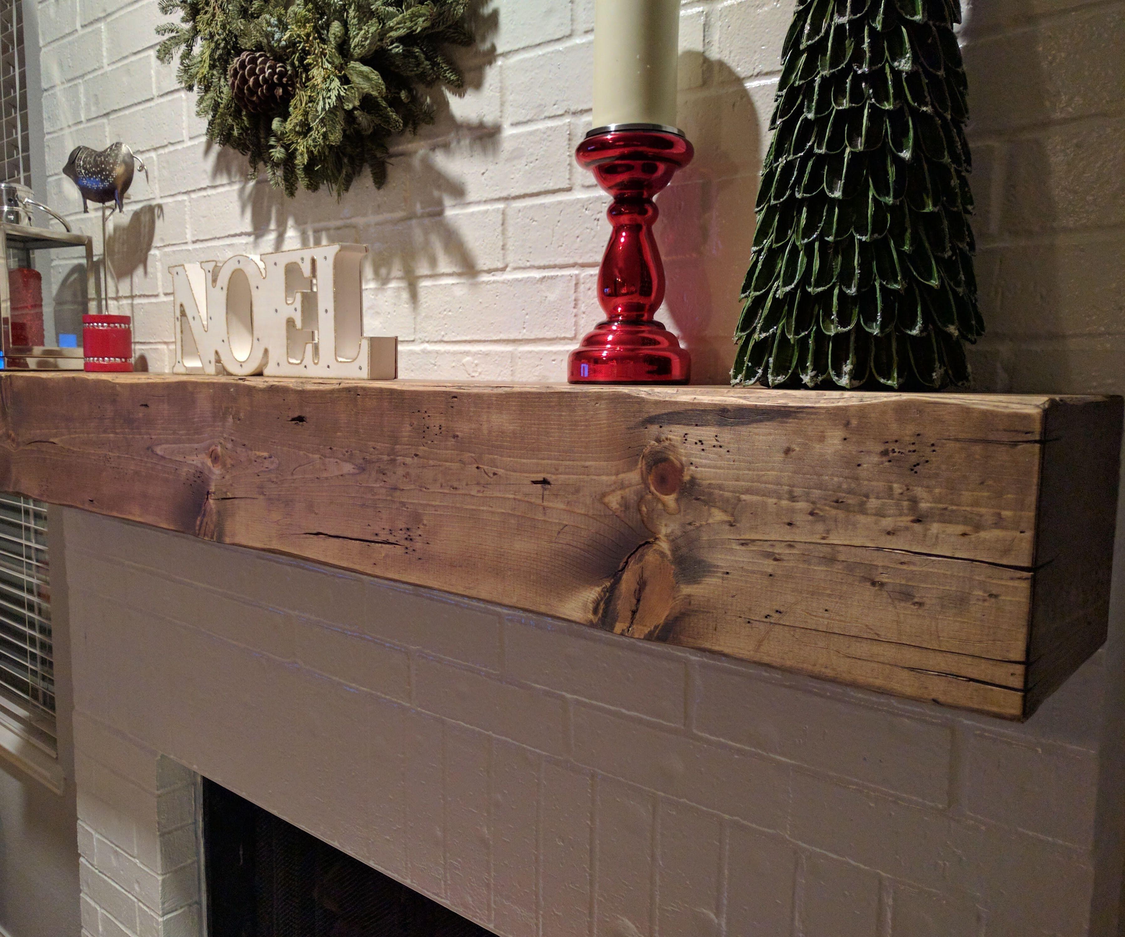 Wood Beam Fireplace Mantle