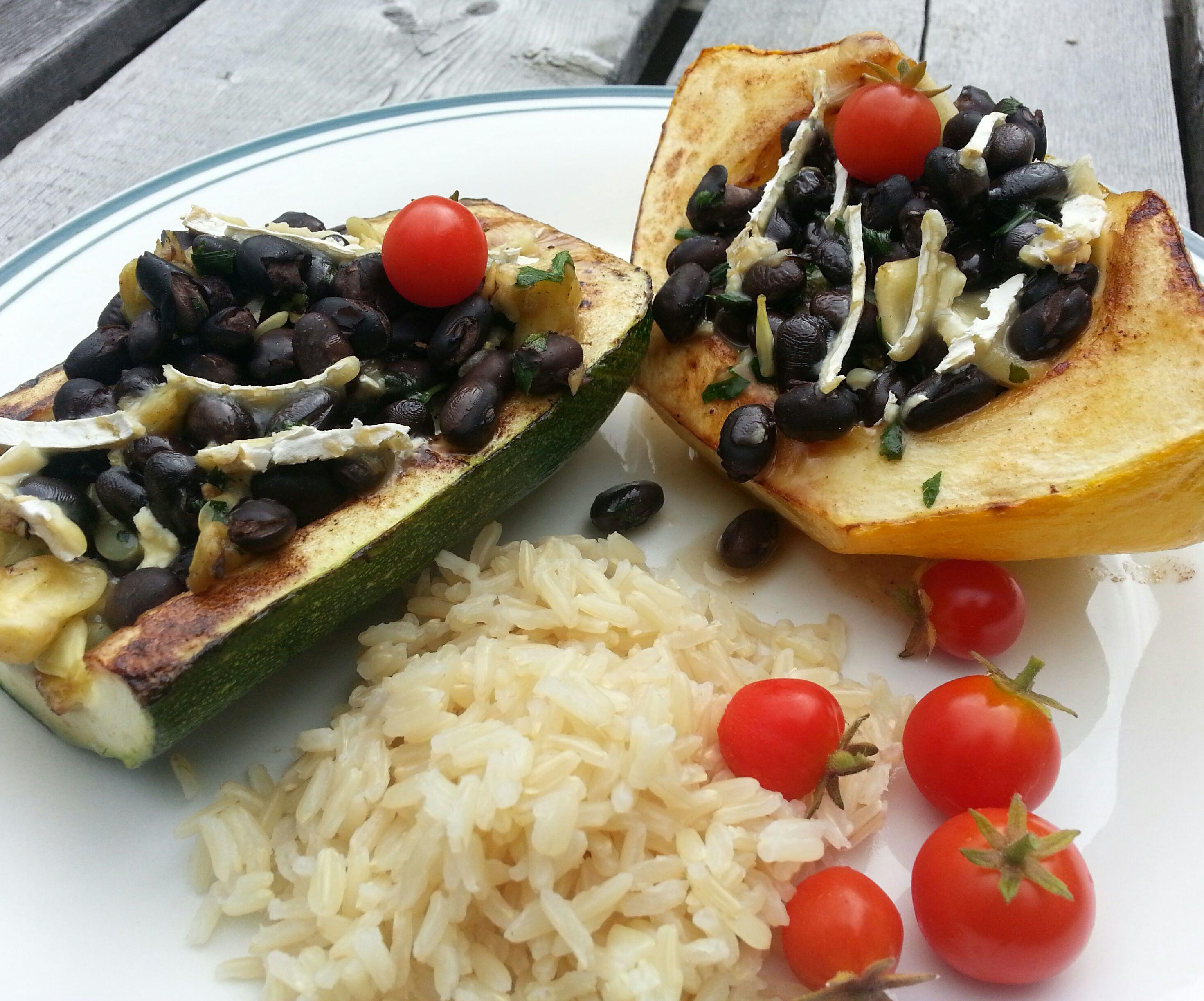Black Bean Stuffed Garden Squash with Brie