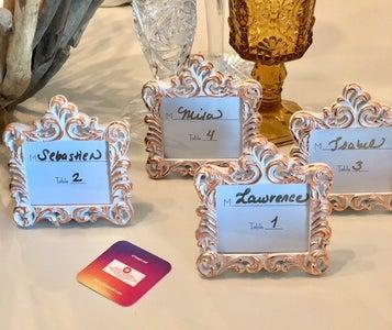 "Gilded ""Rose Gold"" Wedding Place Card Frames"