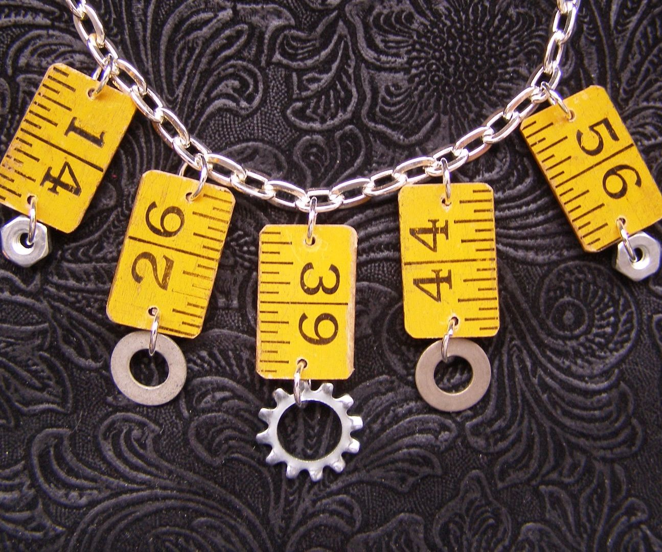Simple Recycled Ruler & Hardware Necklace
