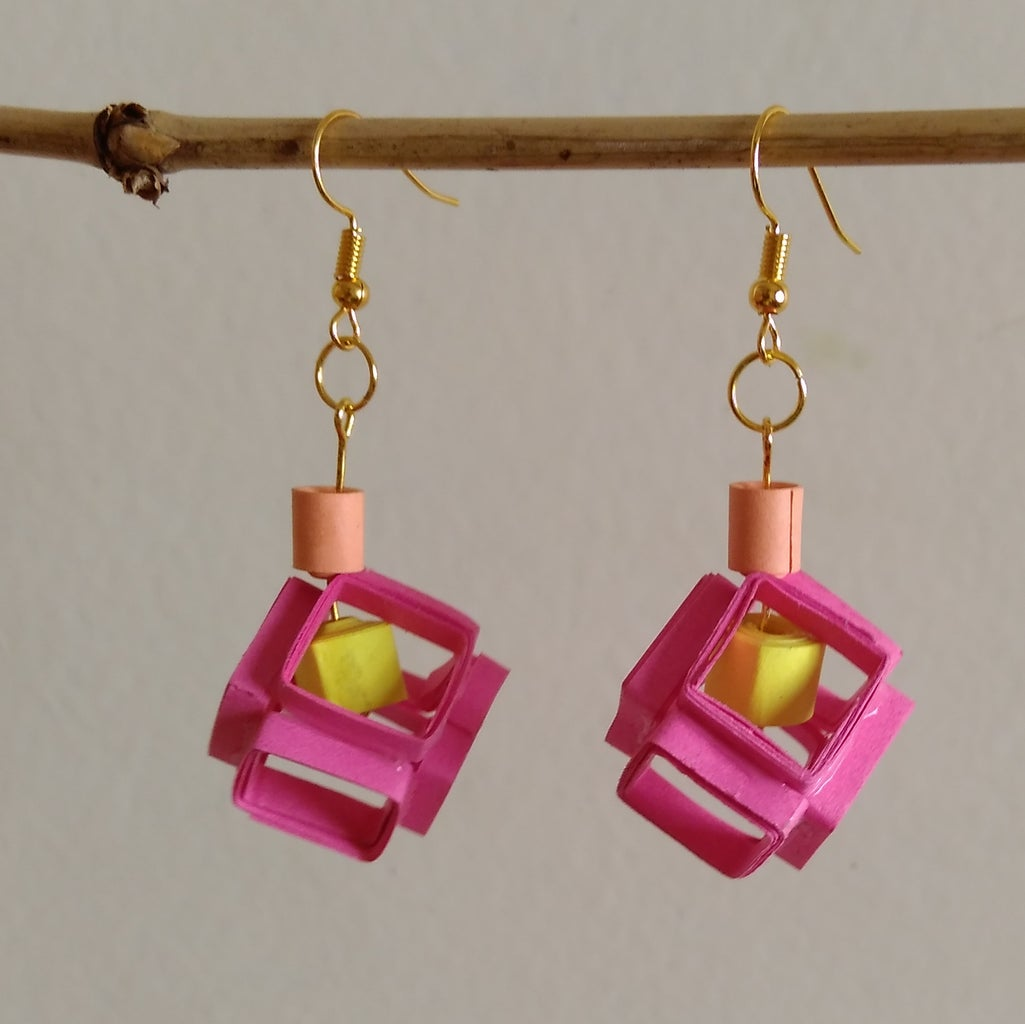 Simple Quilled Cube Earrings