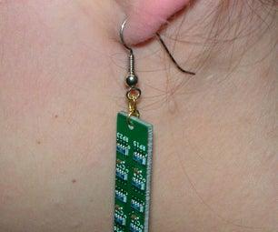 Geeky Circuit Board Earrings