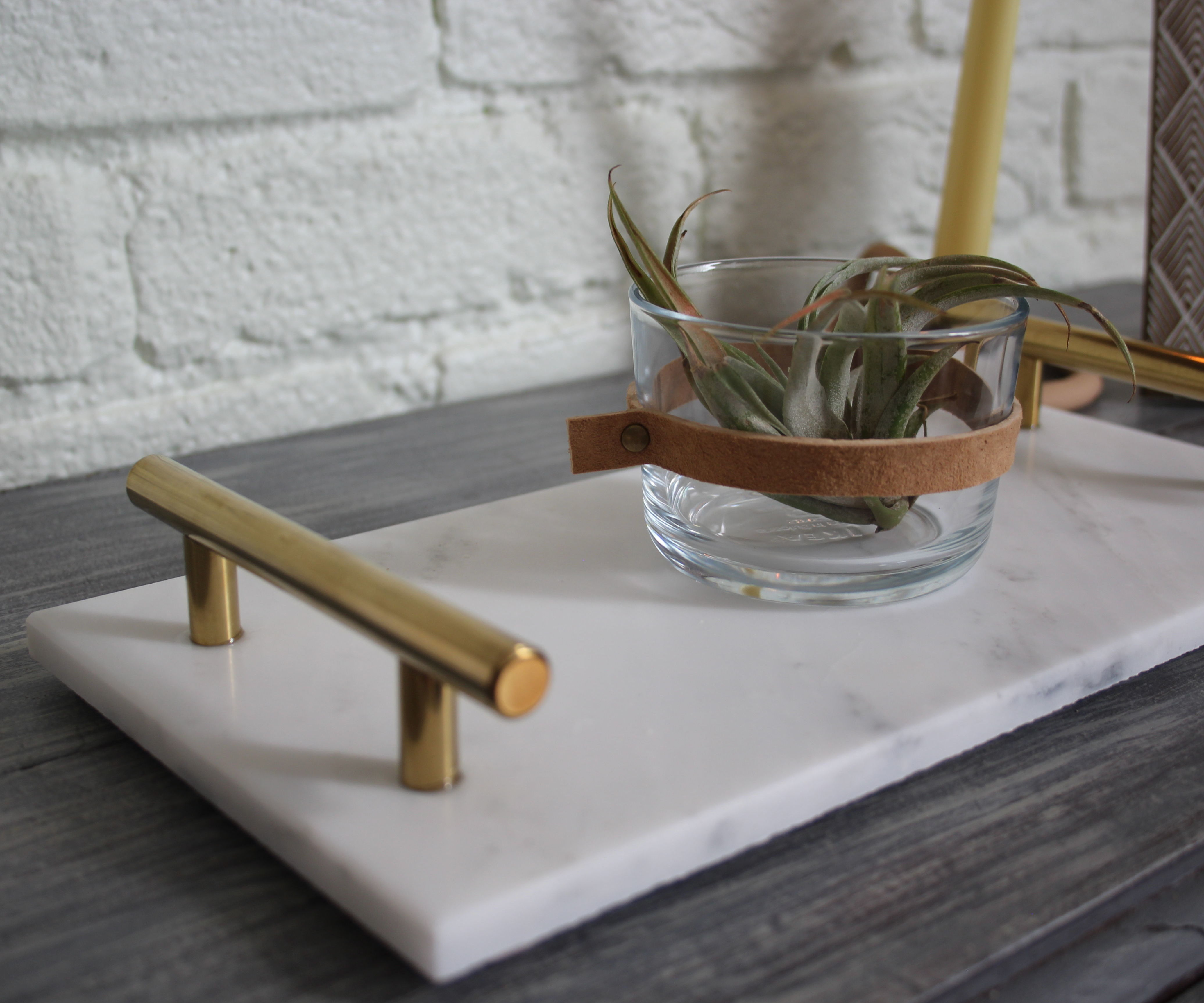 DIY Marble and Gold Tray   Anthropologie Dupe