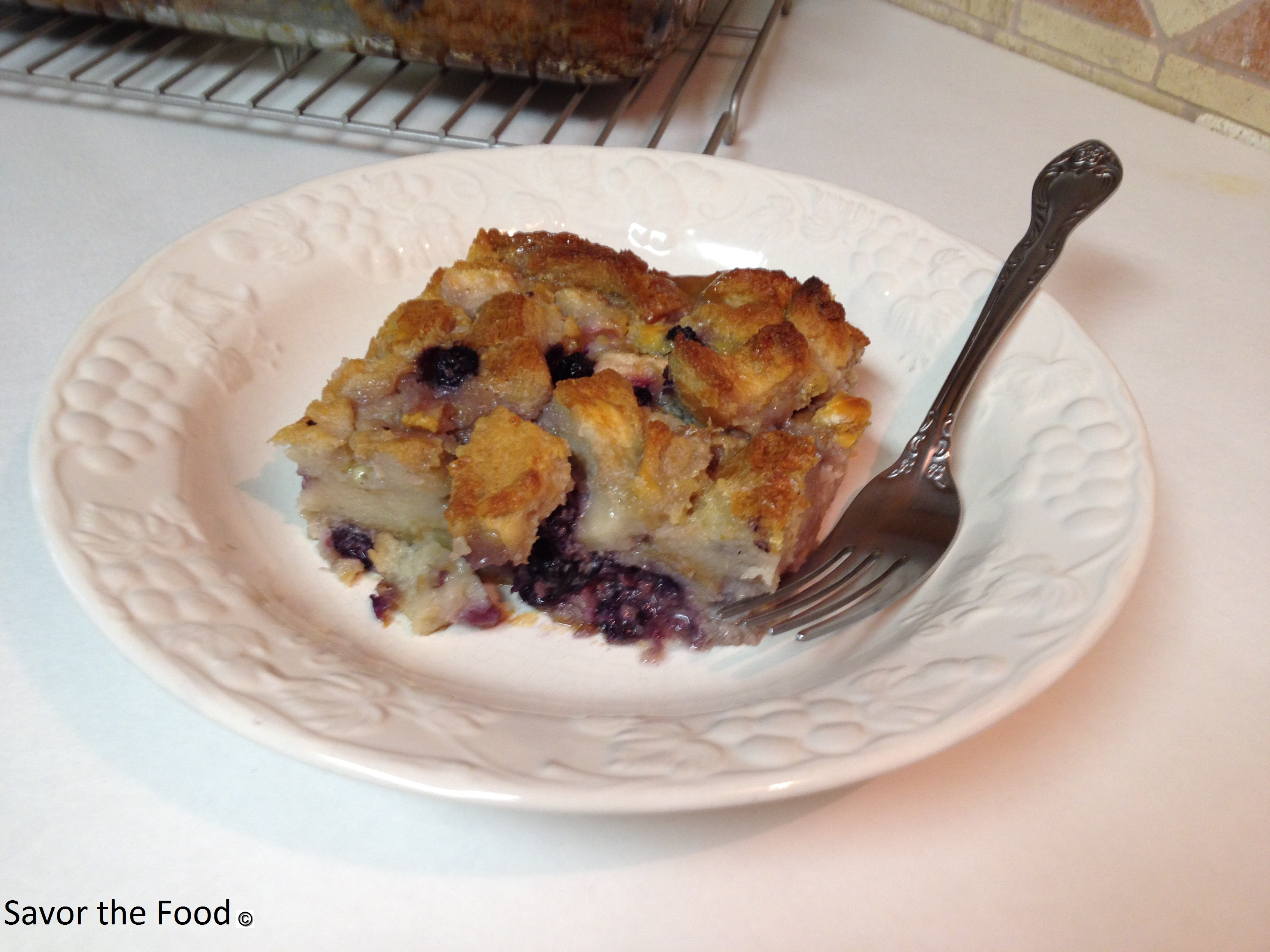 Blueberry Pear and White Chocolate Bread Puding