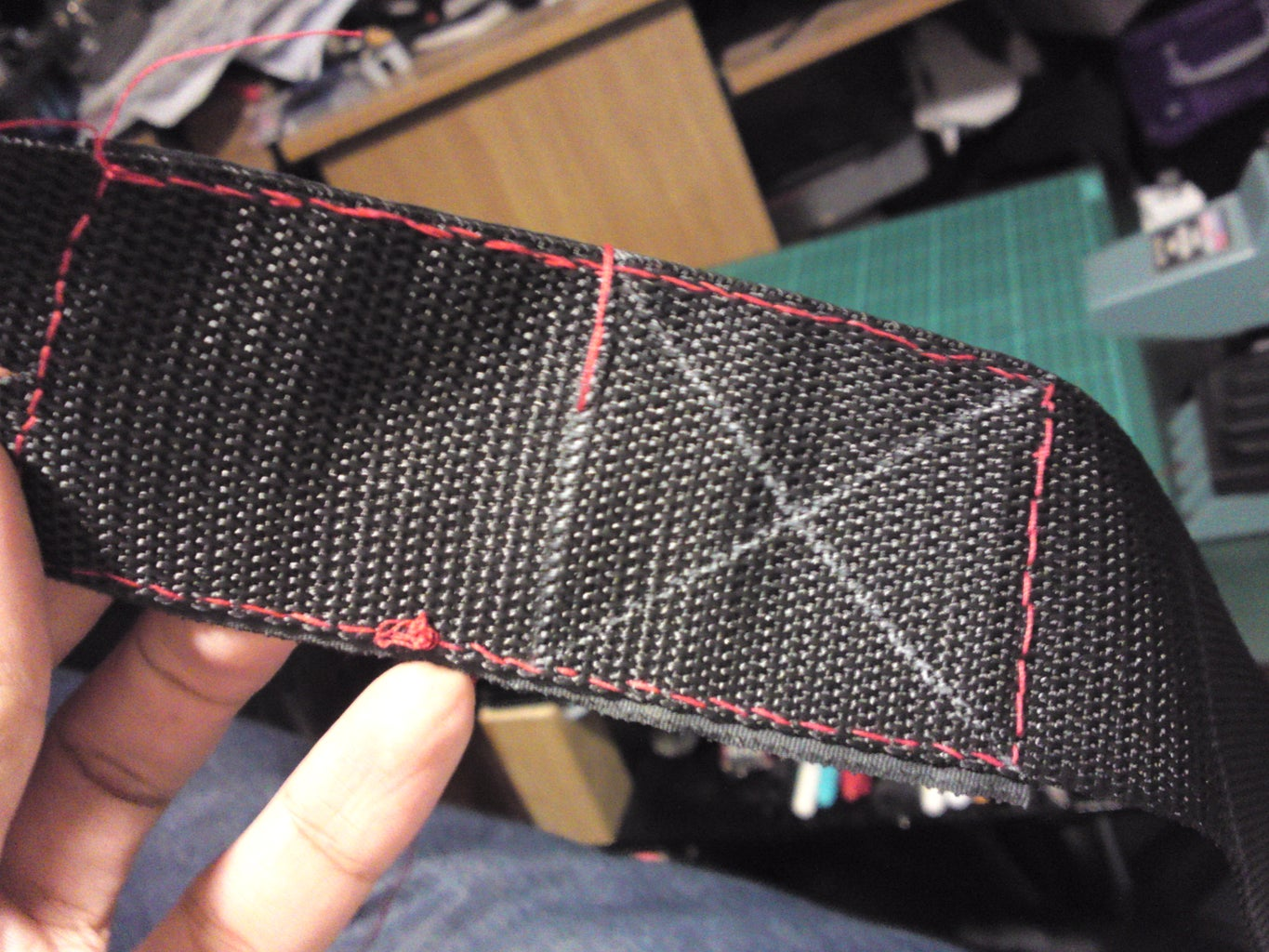 After 'Tacking' the Velcro in Place... Stitch All 4 of the Velcro Pieces Onto the 2 Straps...