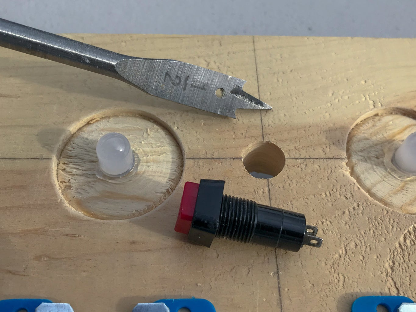 Drill Holes for Push Button and Piezo