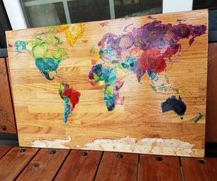 Dried Flower Petal Wood Burned World Map