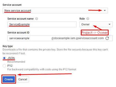Service Account Credentials - Setup: