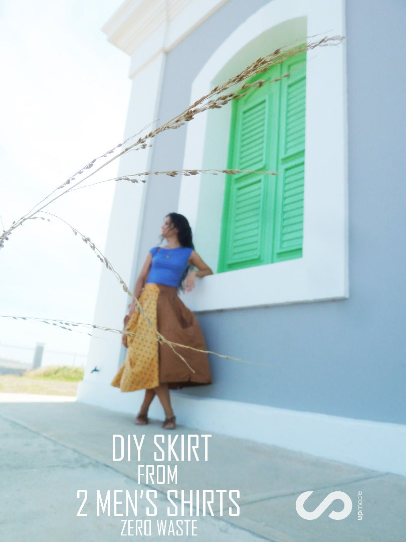 DIY Upcycled Skirt From 2 Men's Shirts - No Waste Tutorial by Upmade