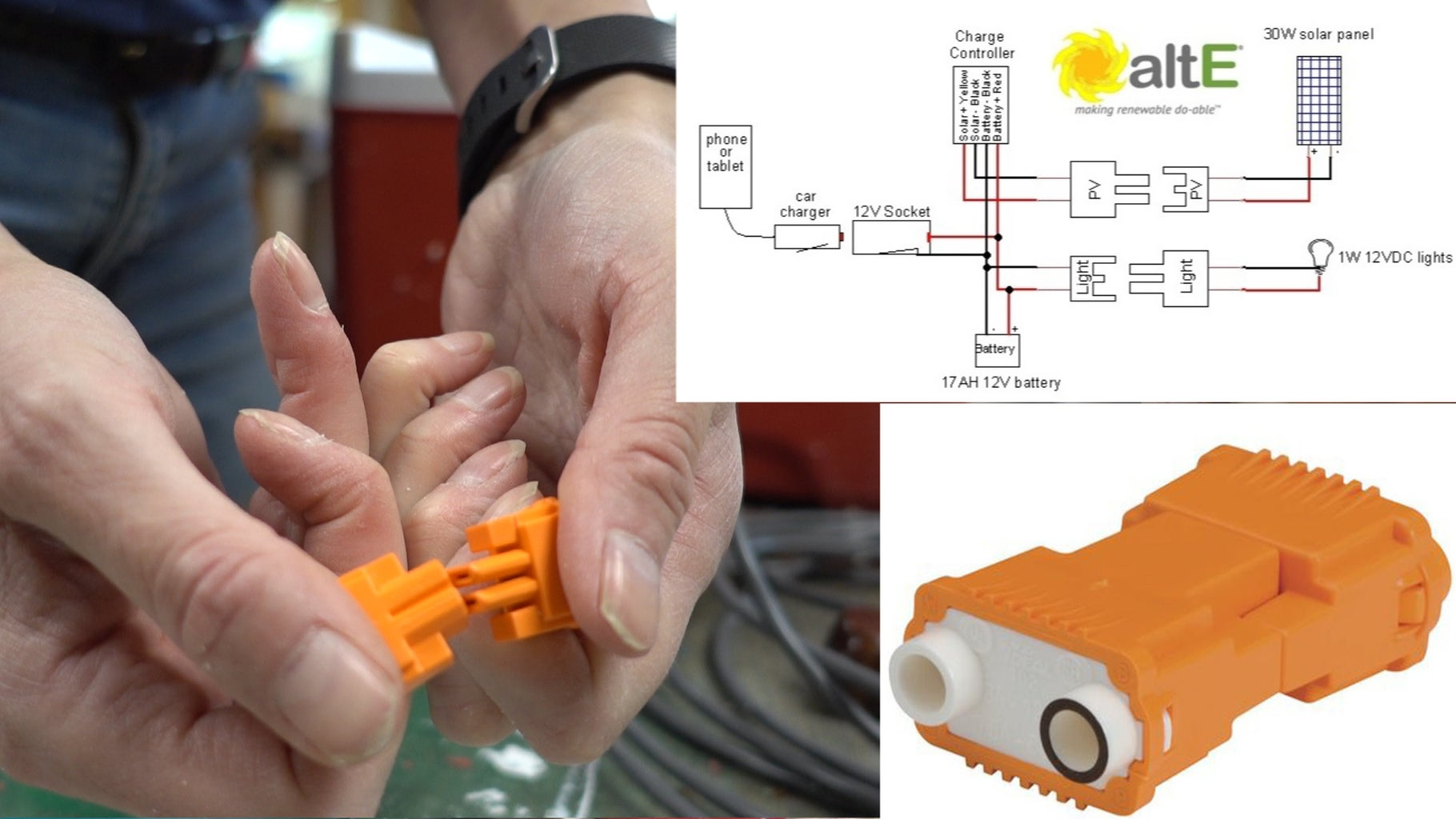Attach DC Connectors for Solar and Lights