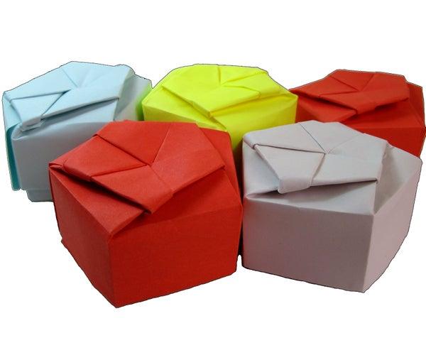 Paper Origami Pentagonal Gift Box