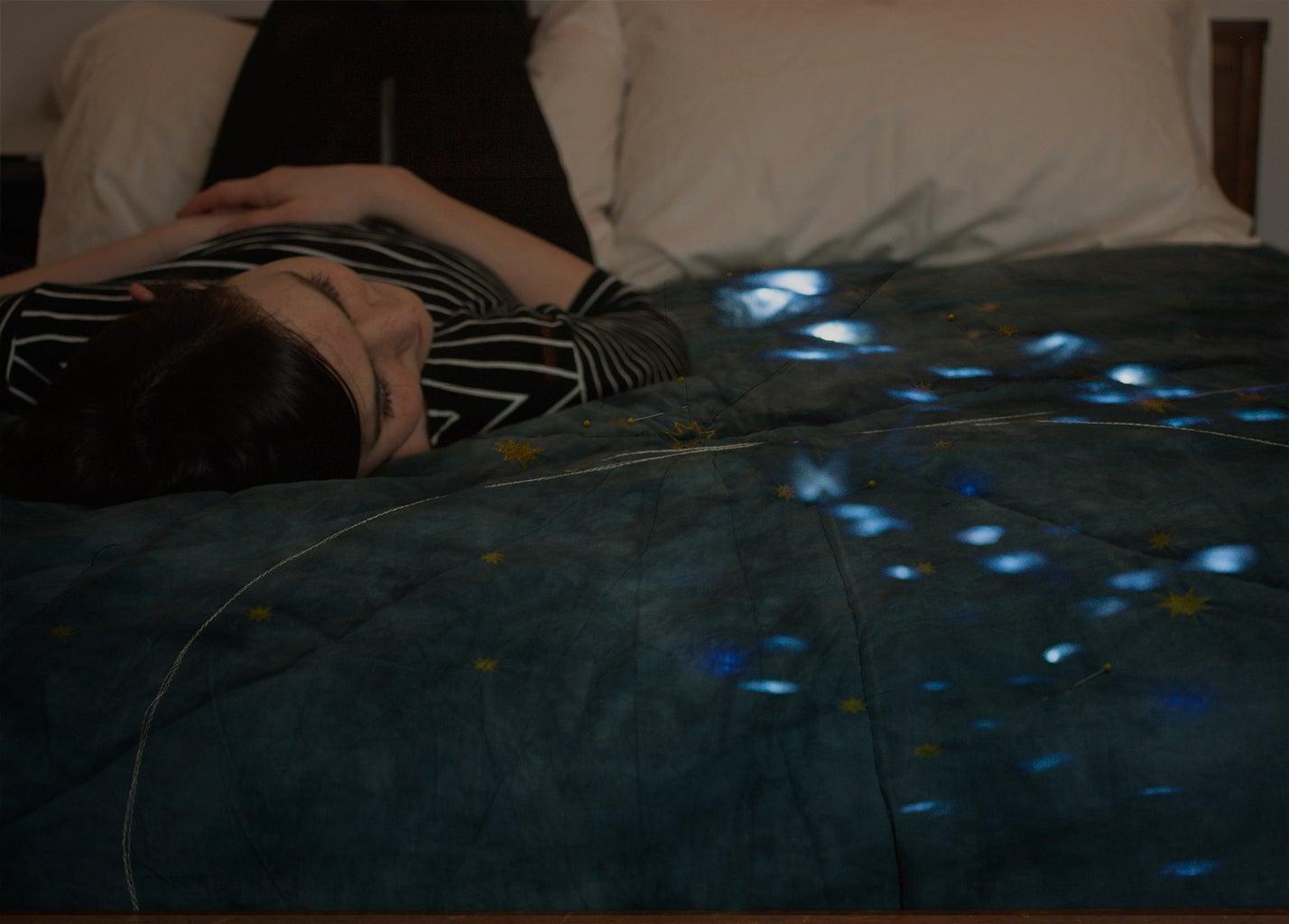 Indigo Starlight Quilt - LED Hand-dyed Constellation Quilt