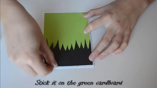 Stick the Hair on the Green Cardboard.
