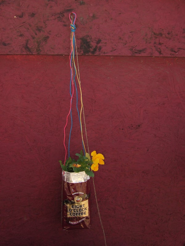 How to Turn a Coffee Bag Into a Hanging Planter.