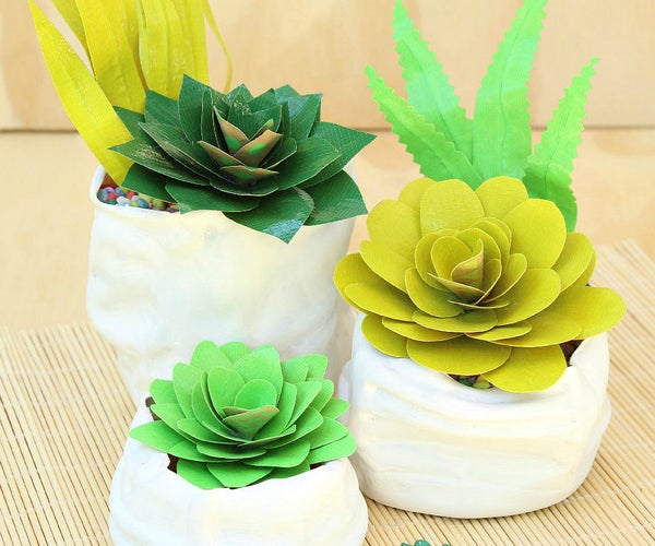 Duct Tape Succulents and Faux Pinch Pots