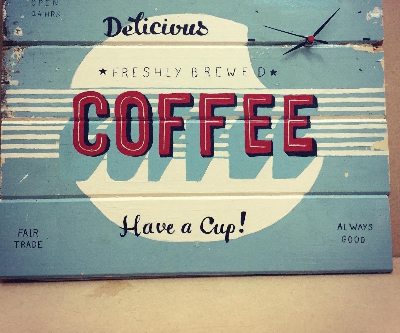 Vintage Coffee Sign Clock