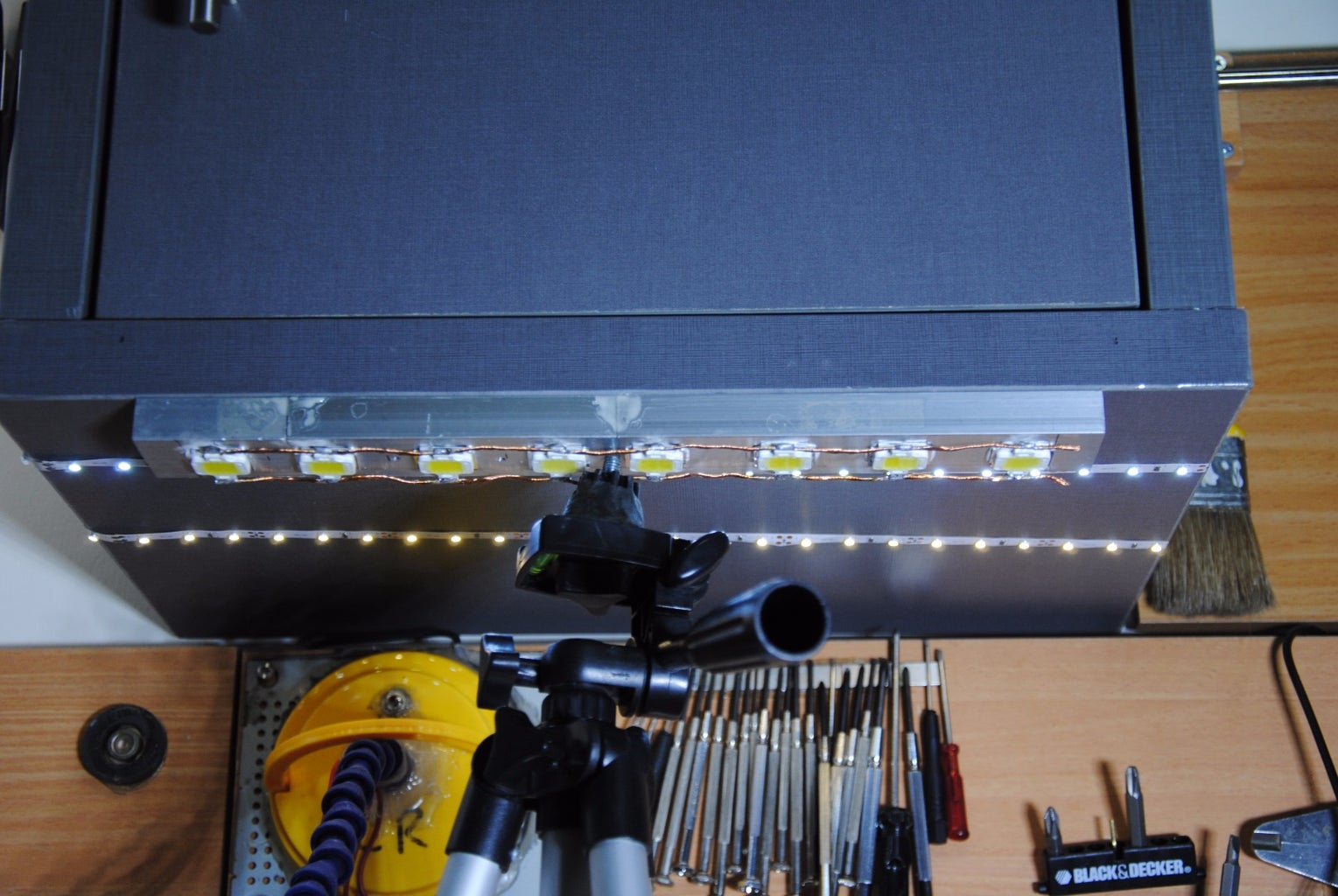 Attaching the Heat-Sinks to My Over-Table Cabinet