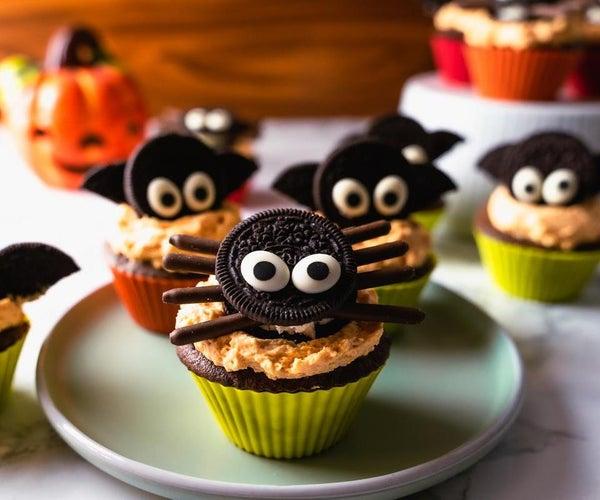 Bat & Spider Halloween Cupcakes