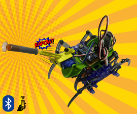 Bluetooth Controlled Spider Robot That Shoots!
