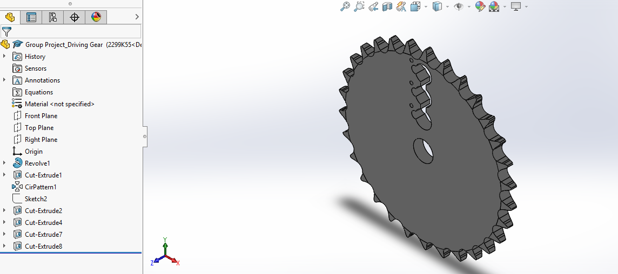 Designing the Sprocket With Keyholes in Solidworks