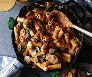 Rigatoni With Sausage, Spinach, & Goat Cheese