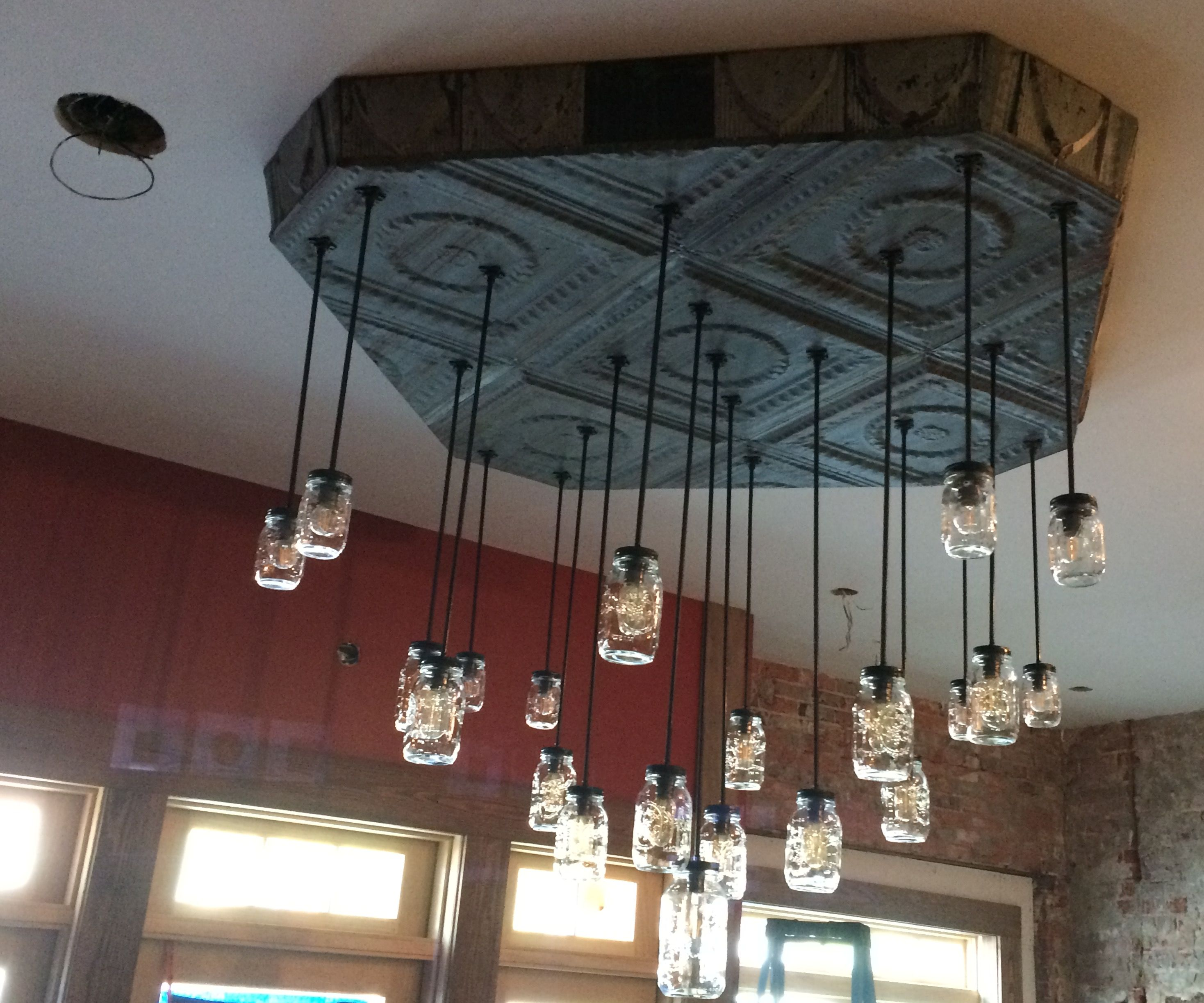 Antique Ceiling Tin and Mason Jars Chandeliers