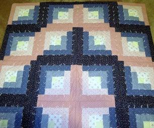 """""""Pink and Blue Log Cabin"""" Quilt"""
