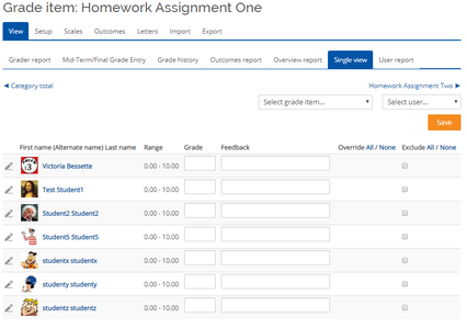 """Use the """"Single View"""" Screen to Grade an Activity in Moodle"""