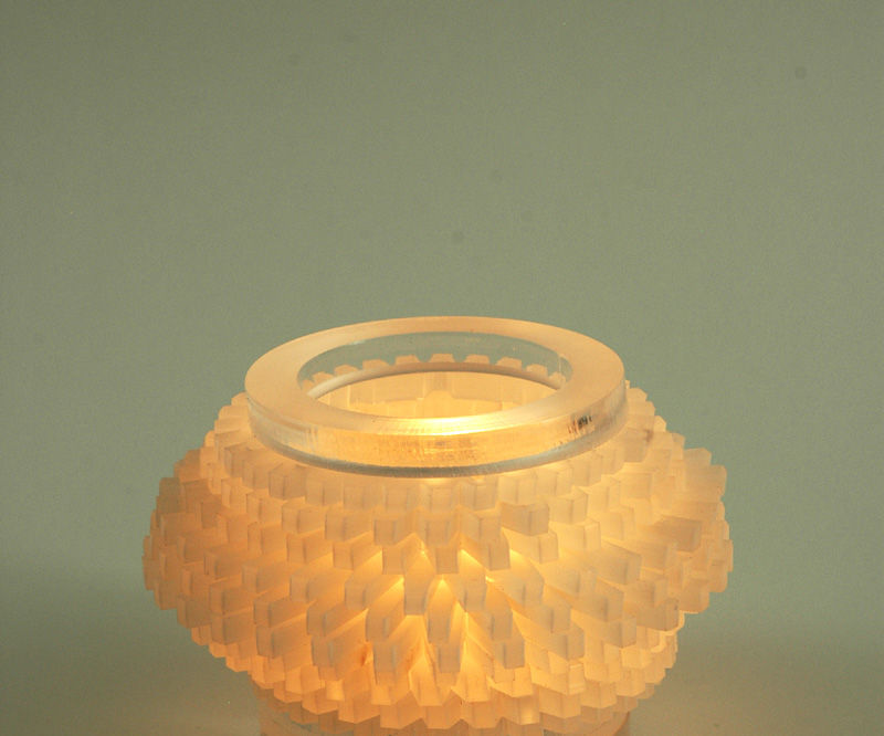 Acrylic tea light holder (that is also a data visualization)