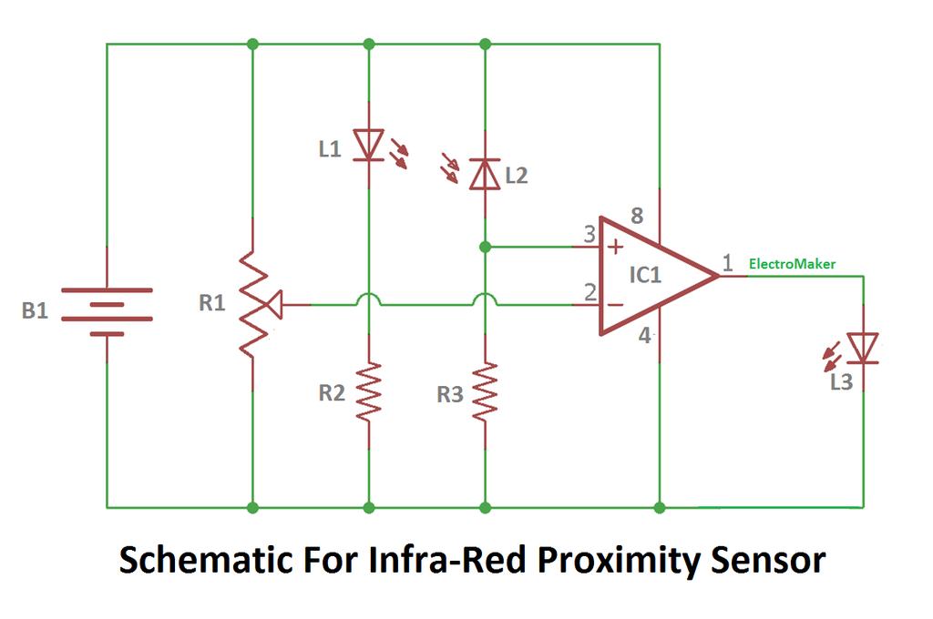 Working of ir proximity sensor using lm358