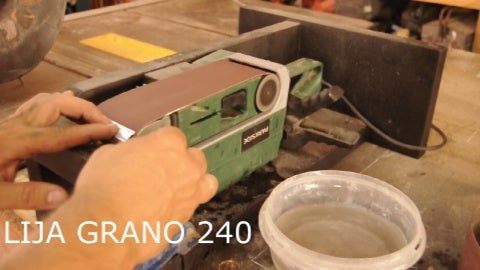 With Our Sandpaper  Number 120 We Keep on Working, Please Take Into Mind That I Need to Cool First, Because We Don´t Want to Get Temperature Through. Then We Use a Sandpaper Number 240.