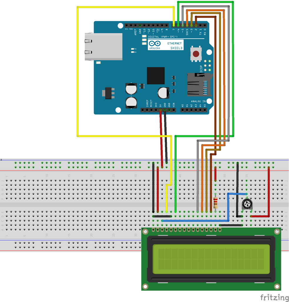 Interfacing 16x 2 LCD Display, 10KΩ Potentiometer and 220Ω