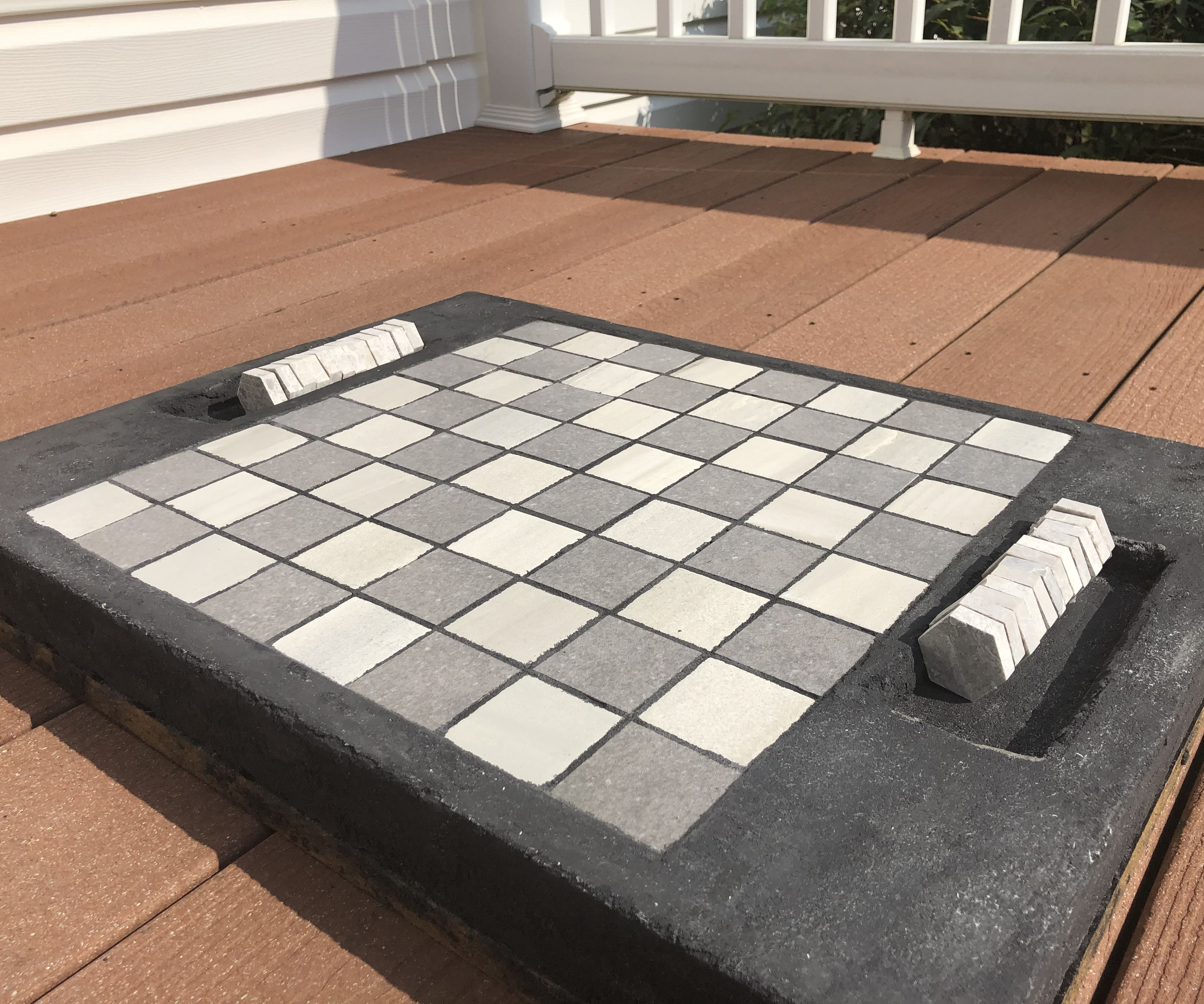 Concrete Checkerboard With Pieces