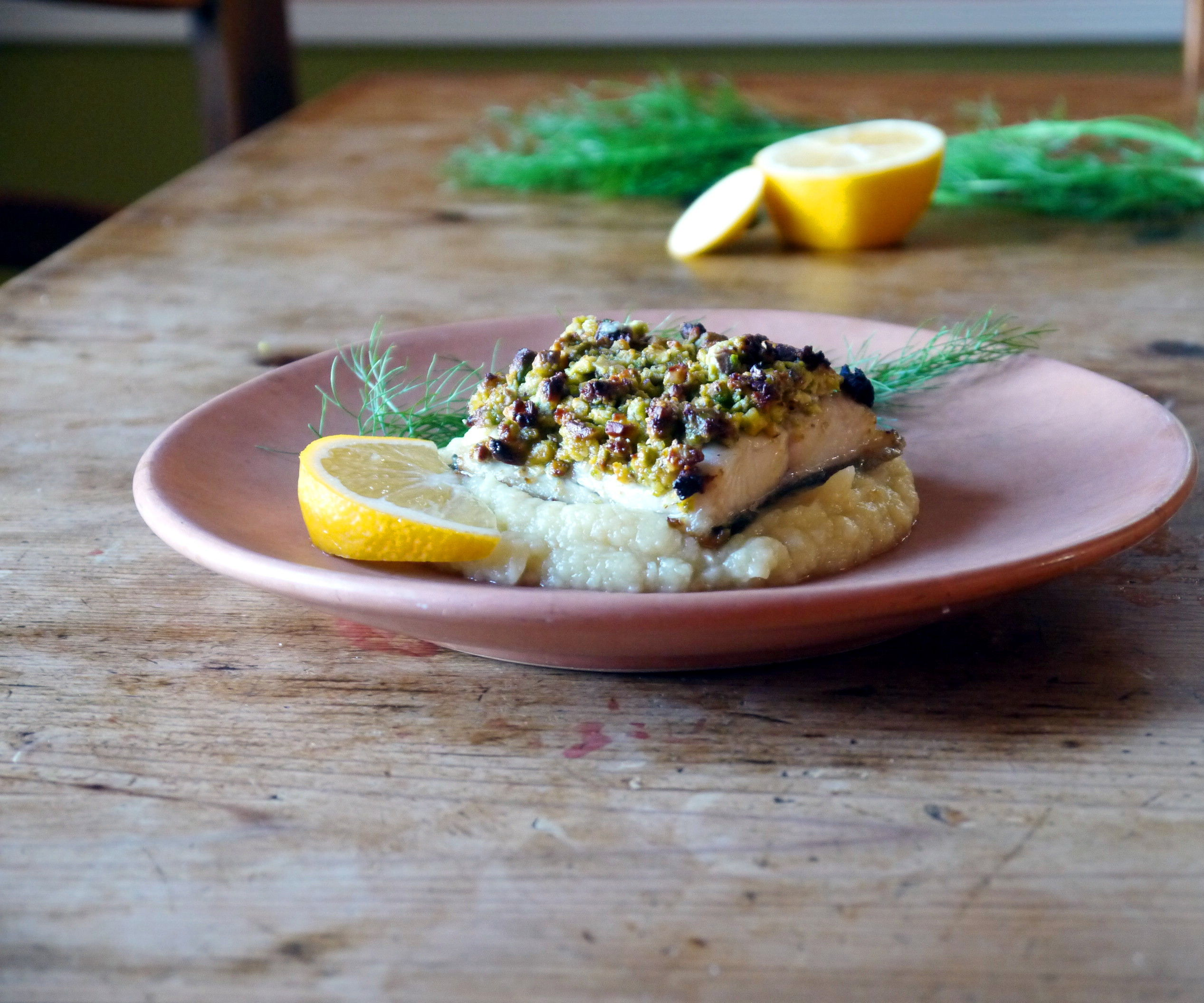 Pistachio Parmesan-Crusted Cod with Parsnip Puree