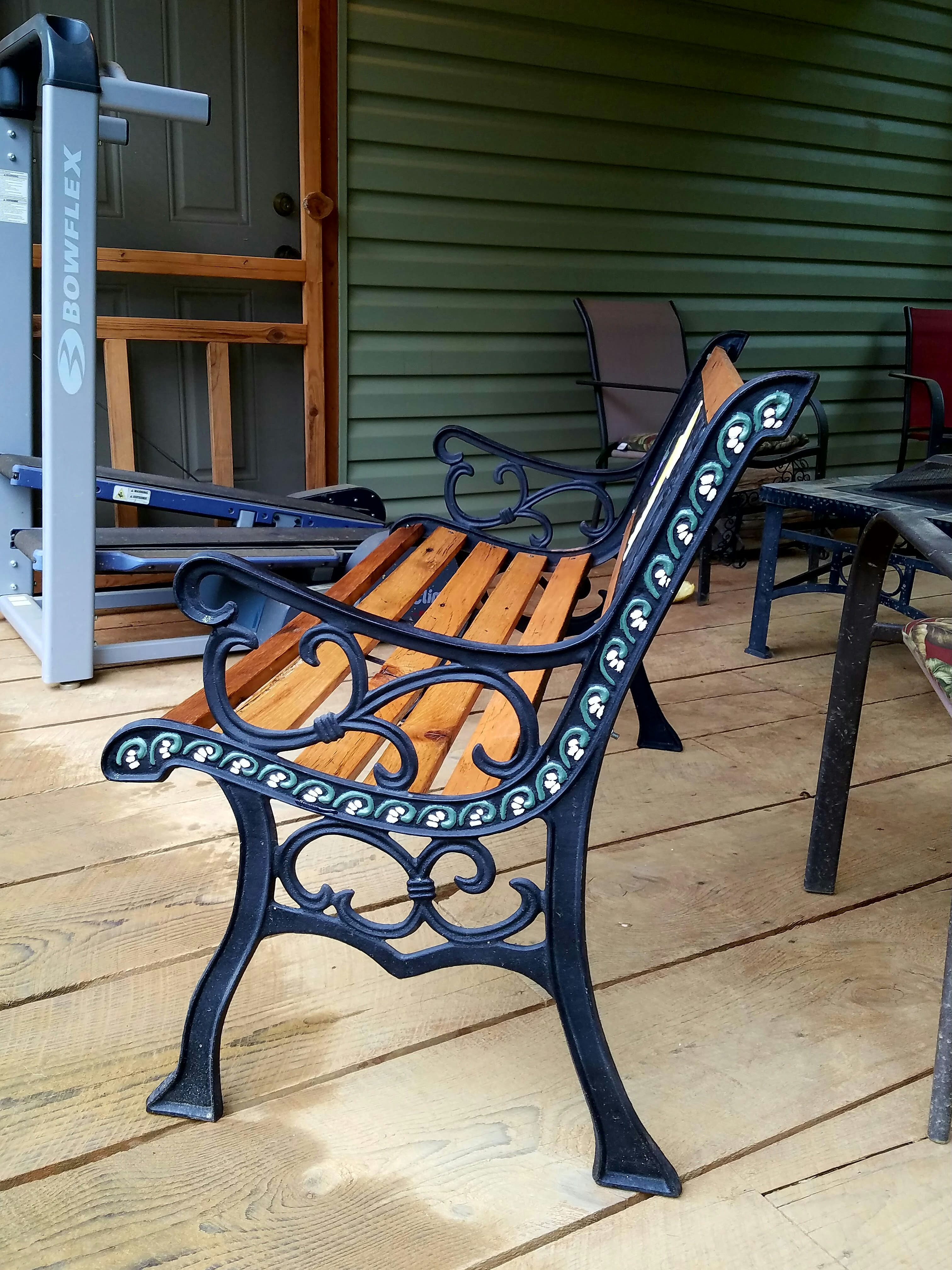 Restored Vintage Cast Iron Angel Garden Bench