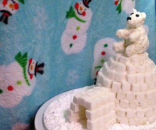 Edible White Chocolate-Coconut Polar Bear on Sugar Cube Igloo Sculpture