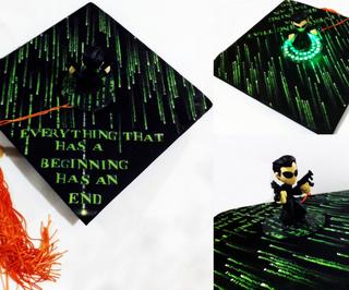 The Matrix Themed Graduation Cap