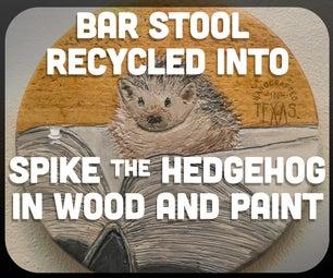 Bar Stool Recycled Into Spike the Hedgehog