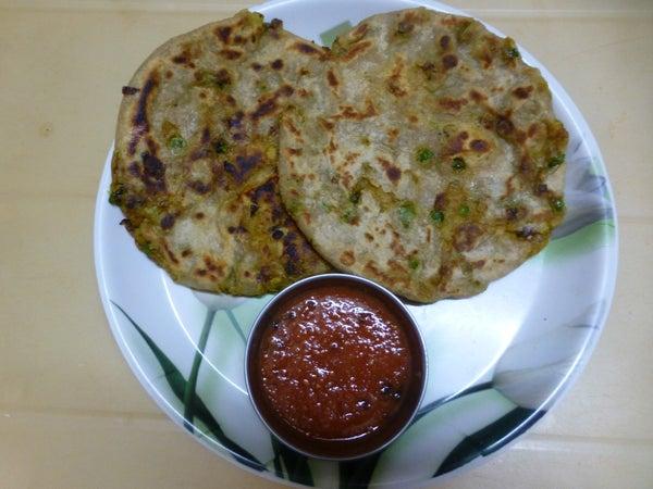 Stuffed Paratha With Green Peas - Potato Masala
