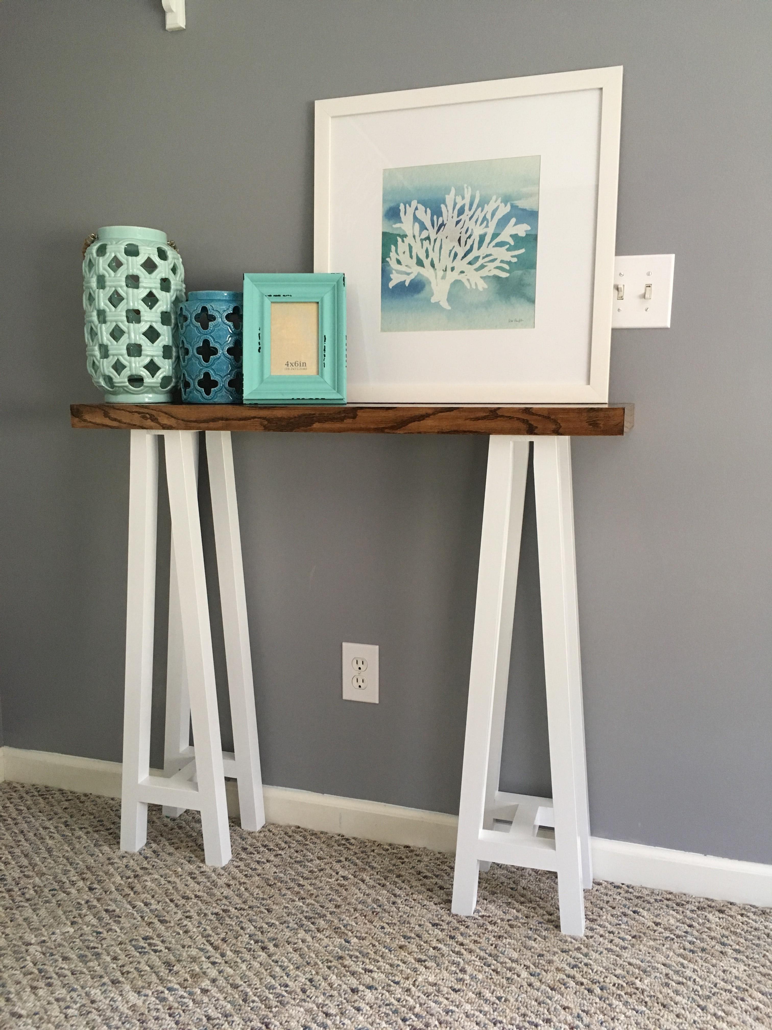 DIY TRESTLE CONSOLE TABLE