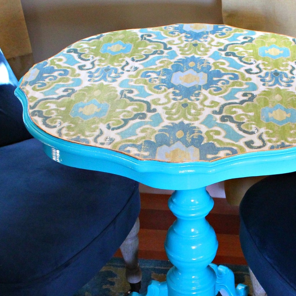 Decoupaged Fabric Table Makeover