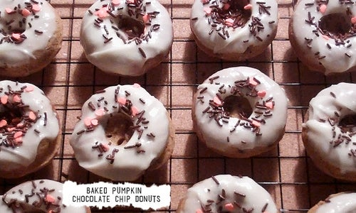 ☻ Baked Pumpkin Chocolate Chip Donuts
