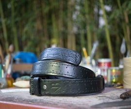 Double Raised Leather Belt With Patterns and Hand Stitched
