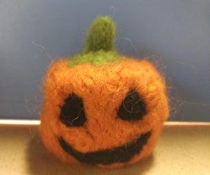 Needle-Felted Pumpkin Stress Ball